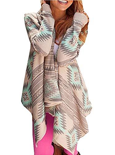 Damen Strickjacken Cardigan Langarmshirt Strickjacke Kimono Geometrische Irregular Loose Pullover Mantel Outwear Tops Strickmantel Strick
