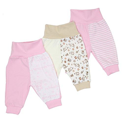 3er Set Baby Pumphose Jungen Babyhose Mädchen Schlupfhose 100% Baumwolle / Made in EU, Farbe: Mädchen, Größe: 74
