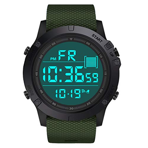 erdichte Militär Digitaluhren Herren Sport Digitaluhr Outdoor Shock Resistant Round Dial Case LED ()