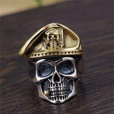 one 925 Sterling Silber Fluch der Karibik Schädel Ring mit Gold Hut für Männer Frauen Einstellbare Größe Q 1/2-V Punk Ringe ()