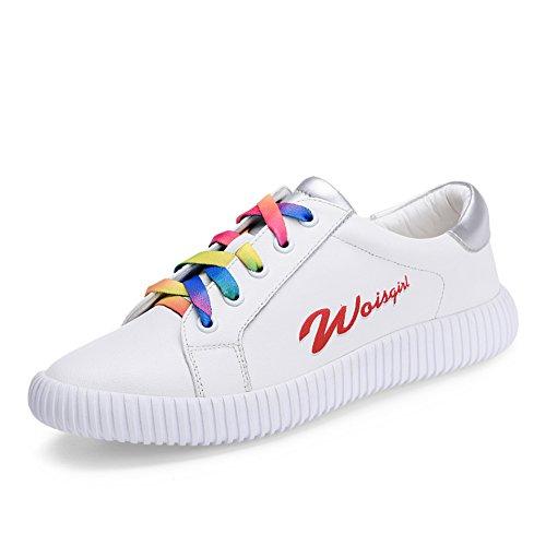 La version coréenne du petit blanc chaussures femme/Chaussures rouges plates/chaussures avec des couleurs mélangées/Chaussures lacées/Chaussures blanc B