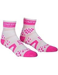Compressport Pro Racing V2 Run Hi - Calcetines para hombre, color blanco / rosa, talla L