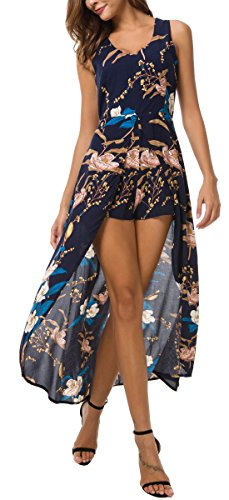 KorMei Damen Maxi Lang Kleid Tank Strand Spielanzug Boho Blumendruck Party Kleid Navy XL Kleid Hose