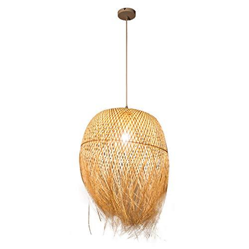 Pendelleuchte handgeflochten aus Bambus Pendellampe Kreative Design Lampeschirm Personalisierte Hängeleuchte Rattan Kronleuchter Hängelampe für Esszimmer Schlafzimmer Ø45cm*62cm -