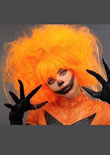 ween Kürbis Halloween Neon Orange Backcombed Perücke ()