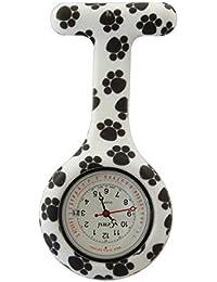 Censi enfermera de silicona FOB reloj túnica broche fecha en la perra del perro de marcación negro y blanco de impresión de cuarzo con batería extra