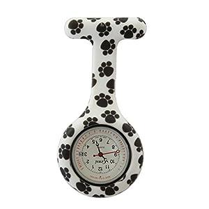 Censi Unisex-Taschenuhr Tunika-Brosche Datum auf dem Zifferblatt Hundepfote Schwarz-Weiß-Analog-Japanisches Quarzwerk Silikon C-FOB