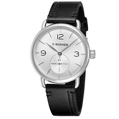 FORSINING - Reloj de Pulsera de Acero Inoxidable para Hombre con Correa analógica
