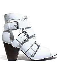 La Fame LA3-5 SNAPCALF NEGRO Zapatos de mujer sandalias de tacón, tacón alto, nueva colección de verano 2016 MUELLE DE PIEL NEGRO