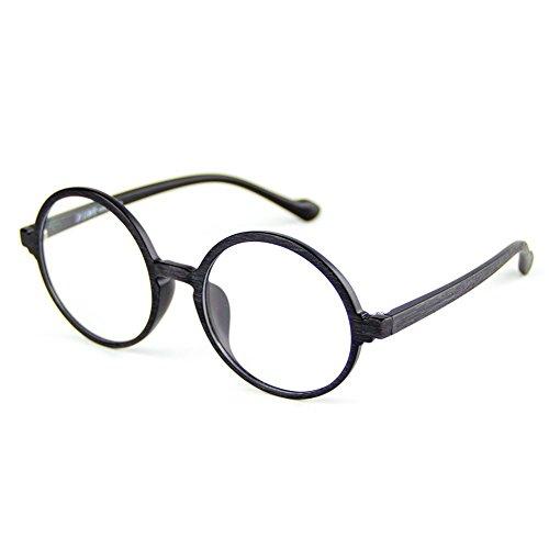 Cyxus TR90 licht flexibel blaue licht blockieren brille anti augen ermüdung [transparente linse] Mattschwarzes Holzkorn Runder Rahmen