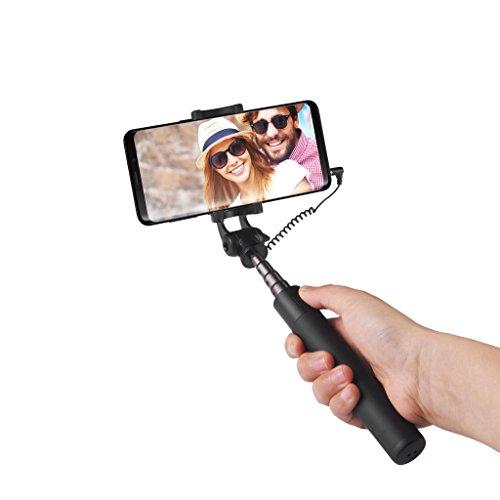 Power Theory Selfie Stick - Ohne Akku mit AUX Kabel Auslöser, Selfiestick für Samsung Galaxy S9 S8 S7 S6, iPhone XS Max X 8 7 Plus 6s 6 und alle Smartphones - Handy Halter Stativ Selfi Stange Monopod