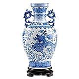 Chinesischer Binauraler Drache-Vase, Jing Dezhen Blauer Und Weißer Porzellan Vase ,Antike Vasen Deko Vasen, Idege Dekoration Für Haushalt, Büro, Party