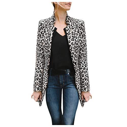 Abrigo Blazer con Estampado de Leopardo para Mujer Chaqueta Larga Abrigo de Invierno cálido Viento Chaqueta de Vestir Negro 2XL(EU42)