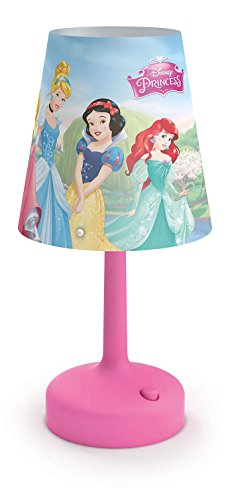 Philips Disney Princesas - Lámpara de mesa portátil, luz blanca cálida, bombilla LED incluida, color rosa