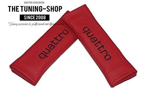 2x cintura cover imbottito spalla rosso cuoio nero quattro Edition per (Mazda 6 Oem Sostituzione)