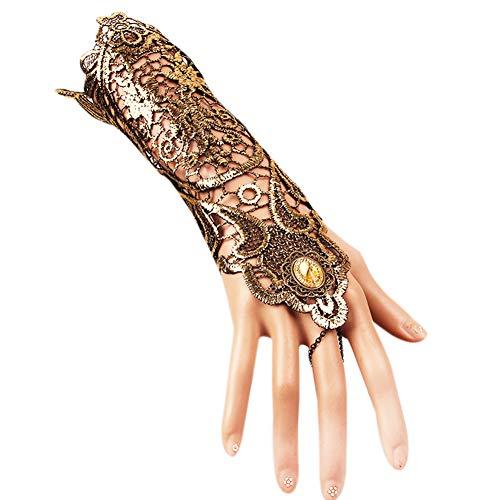 (Damen Vintage Gold Spitze Handschuhe Handgemachte Accessoires Kleid Half Finger Festival COS Party Hochzeit Kostüm)