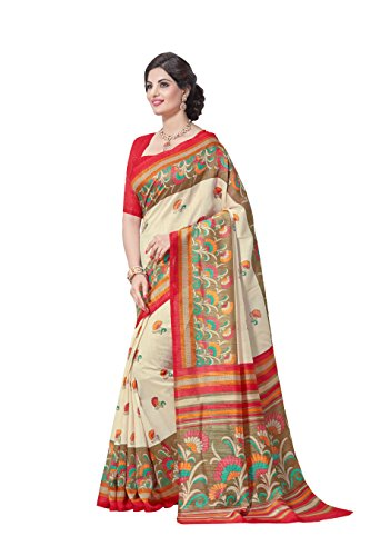Novus Knitting Beige Printed Mysore Jute, Cotton Linen Blend uniform Saree With...