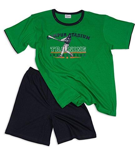 Jungen Shorty, Oberteil mit Rundhals-Ausschnitt und sportlichem Motiv - Moonline, Farbe:grün, Größe:152 (Baseball-jungen Schlafanzug)