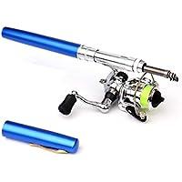 Delicacydex Mini bolígrafo portátil Tipo caña de Pescar caña de Pescar telescópica con Carrete de Pesca al Aire Libre Accesorios de Aparejos de Pesca - Azul