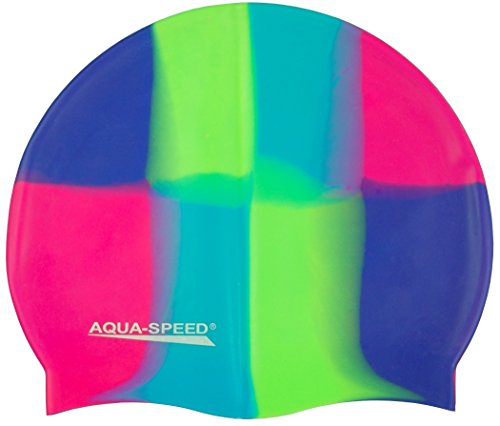 Aqua Speed Badekappe Herren | Silikon | Bademütze | Badehaube | Mehrfarbig + Aufbewahrungstasche 44