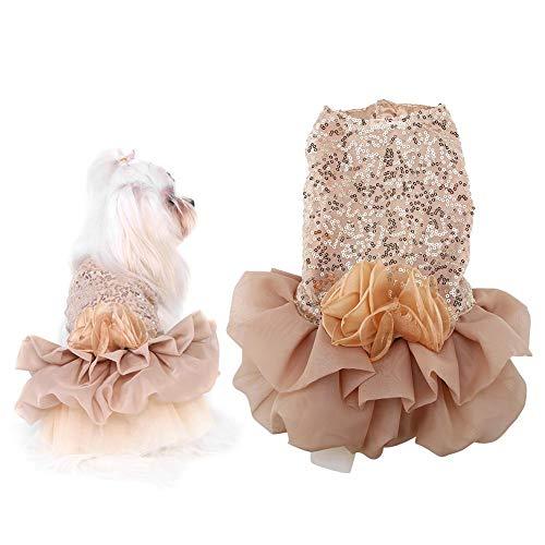 Seidiges Kleid (Hundekleid Haustier Kleine Hund Kleidung Pailletten Seidige Tutu Welpen Kostüm Hund Prinzessin Elegant Rock Hochzeit Kostüm (Gold XL))