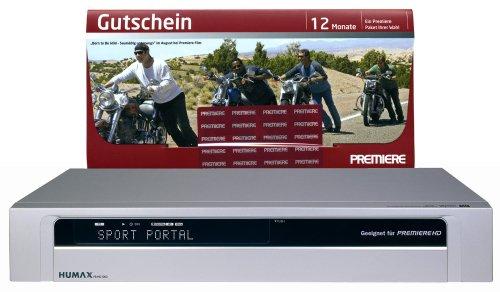 Humax PR HD 1000 Digitaler Satelliten-Receiver (HDMI-Ausgang, 2 CI-Anschluß) Silber, inkl. Premiere Gutschein 12 Monate 1 Paket Premier Digital Receiver