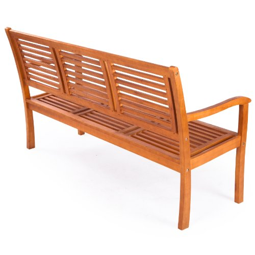 Ultranatura Gartenbank 3-Sitzer, Canberra – Serie – Edles & Hochwertiges Eukalyptusholz FSC zertifiziert – 158 cm x 61,5 cm x 89 cm - 2
