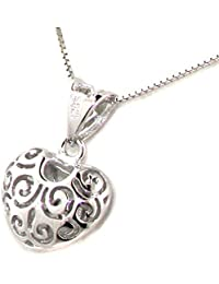 Antique style 925 Solid Sterling Silver Pierced Heart Pendant with Chain