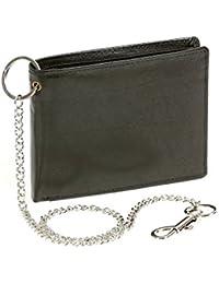 Biker portefeuille pour homme et femme avec la chaîne sans application chrome format paysage LEAS, cuir véritable, noir - ''LEAS Chain-Series''