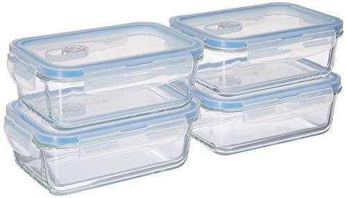 (4er set) Meal Prep Container aus Glas inkl. fest verschließbaren Deckeln, BPA-frei, luftdicht, auslaufsicher, für Mikrowelle, Ofen, Gefrierfach, Spülmaschinenfest (3,5 Cup, 28 Oz, Rechteck) 830ml