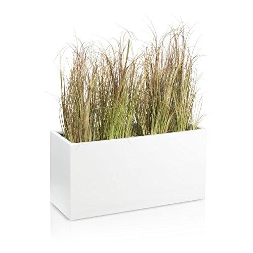 DECORAS Pflanzkübel Blumentrog VISIO Fiberglas Blumenkübel - Farbe: weiß matt - großer Wetter- und winterfester Pflanztopf, robuster & UV-beständiger Pflanztrog - TÜV-geprüfte Qualität