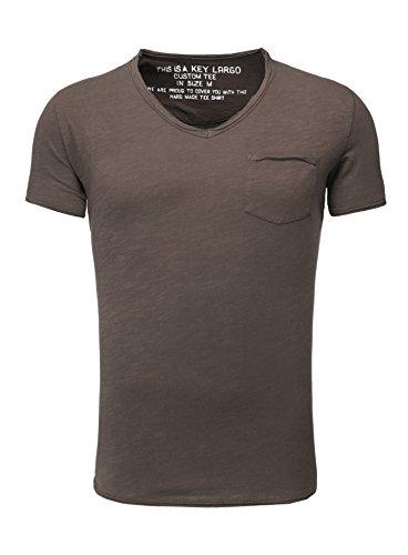 Key Largo Herren T-Shirt WATER Einfarbig Basic Kombinierbar dunkelbraun M