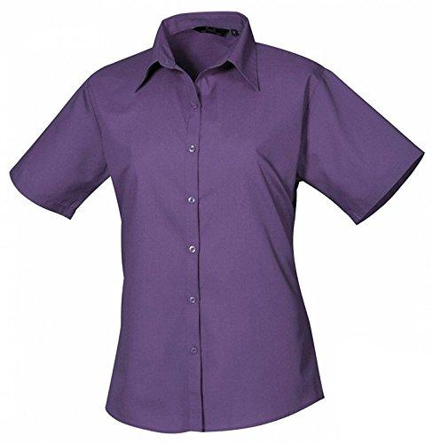 Ladies Poplin Blouse Short Sleeve (Damenbluse/Kurzarm) Purple