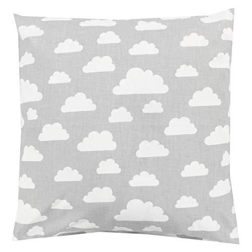 TupTam Kinder Kissenbezug Dekorativ Gemustert, Farbe: Wolken Grau/Weiß, Größe: 80x80 cm