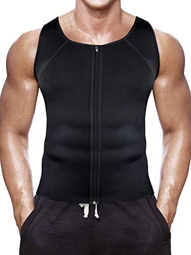 Bauch-brenner (Tutium Herren Body Shaper Reißverschluss für Gewicht Verlust Hot Sweat Workout Tank Top Abnehmen Neopren Weste Bauch Fett Brenner, Schwarz, Small)