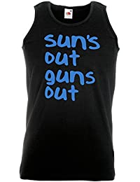 Sun's Out, Guns Out - Printed Vest - Black/Sky Blue Medium