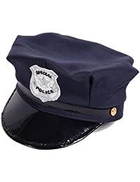 Alsino Kinder Polizeihut Polizeimütze Cap Karneval Cop Polizist Kids Hut Fasching blau 176a