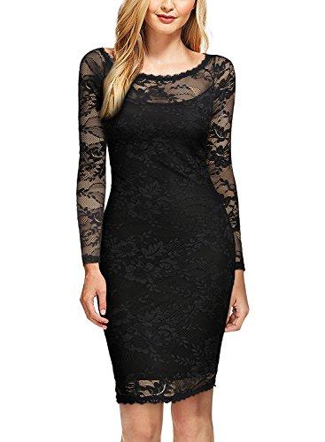 MIUSOL Damen Spitzenkleid Elegant Cocktail U-Ausschnitt Langarm Mini Party Abendkleid Schwarz M - 2