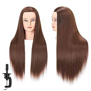 Hairginkgo Mannequin Head 66-71cm Super Long Fibra sintetica Manicina per capelli Testa Styling Parrucchiere Testa cosmetologia Polsiera per taglio Intrecciatura pratica con morsetto (92018 W1020)