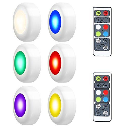 (LEDGLE 6er Schrankleuchten 3W LED Spot Batteriebetrieben 4 Farbmodi Dimmbar mit Fernbedienung, Nachtlicht mit Touchsensor für Küche,Flur, Schlafzimmer,Kinderzimmer)
