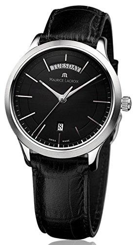 Les Classiques Day/Date LC1007-SS001-330 Quarz Herrenuhr Armbanduhr Gehäuse Edelstahl Saphirglas Zifferblatt schwarz Lederband schwarz
