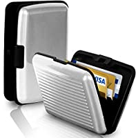 BUSINESS TRAVEL ID CREDIT CARD HOLDER WALLET ALUMINUM METAL POCKET CASE BOX WHITE