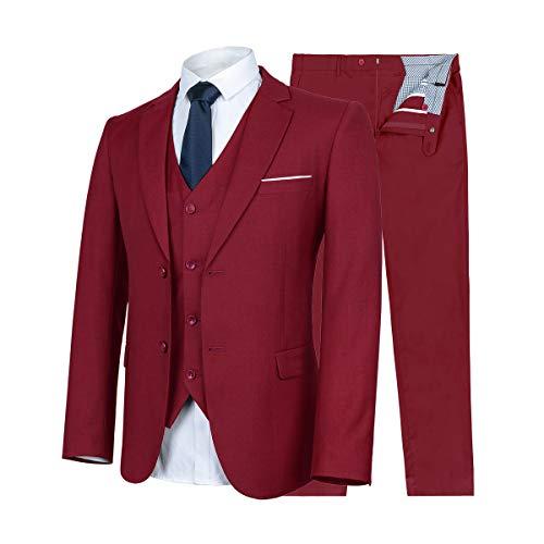 WULFUL Herren Anzug Slim Fit 3 Stück Klage-Blazer-T-Taste Tuxedo Geschäft Hochzeit Jacken Westen & Hosen XXX-Large Weinrot (Drei-tasten-anzug)
