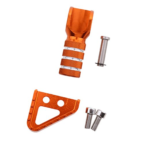 MagiDeal 1 Stück Ersatz CNC Bremspedale + 1 Stück Schalthebel Spitze, Zubehör für KTM Motorrad - Orange