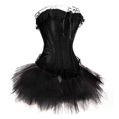 Corsage Kleid Mini Rock Tutu Korsett Gothik Schwarz EUR(40-42) (Gothic Dark Angel Kostüm)