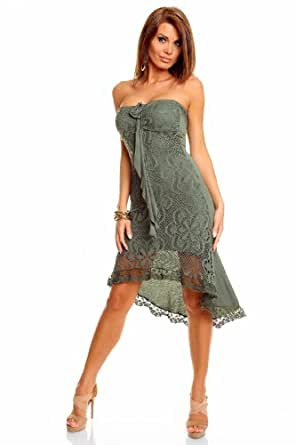 Vokuhila Kleid kurz Spitze Sommerkleid Strandkleid, olive ...
