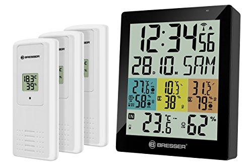 Bresser Temeo Hygro Quadro DLX Thermometer und Hygrometer mit drei externen Sensoren zur Kontrolle der Temperatur und Luftfeuchtigkeit in Räumen und DCF-Funksignal, schwarz