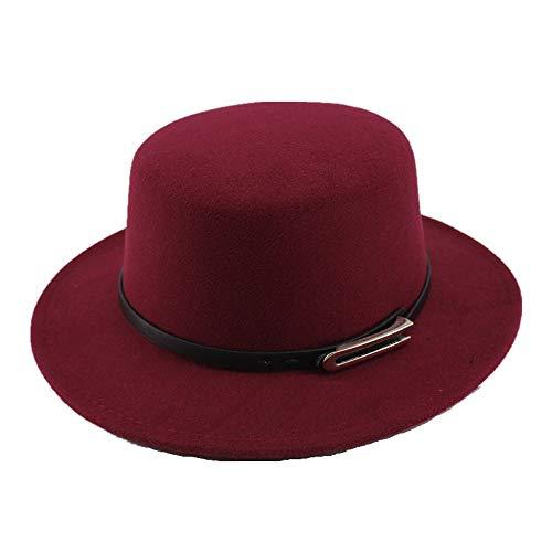 LUZIWEN Mode for Männer Frauen Wolle + Polyester Melone Wollfilz for Männer Hut mit breiter Krempe Gentleman Flat Hat (Farbe : Weinrot, Größe : 56-58CM) -