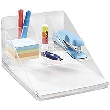 mDesign - Organizador para almacenamiento en escritorio y oficina, con bandeja portapapeles - Claro