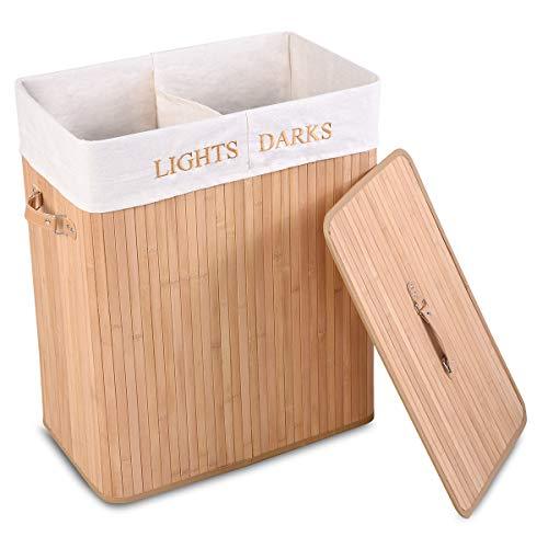 COSTWAY Wäschebox faltbar, Wäschekorb mit Deckel, Wäschesammler 2 Fächer, Wäschetruhe mit herausnehmbarem Wäschesack, Spielzeugkorb für Kinder, Wäschebehälter Bambus, Wäschetonne 105L Farbwahl (Natur)